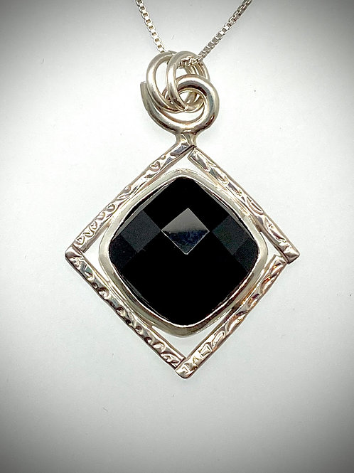 Sterling and Faceted Black Onyx necklace