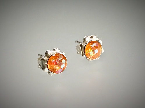 Sterling Small Post Earrings with Large Orange Metal Flakes