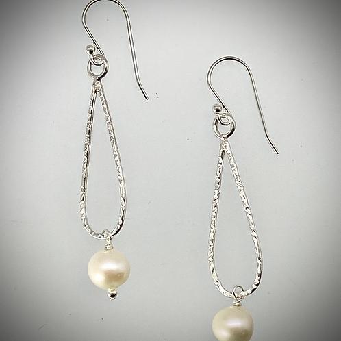 Sterling Small Teardrop Earrings with Freshwater Pearl