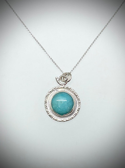 Sterling Amazonite Frame Necklace
