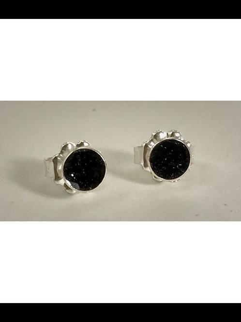 Sterling Small Black Resin Post Earrings