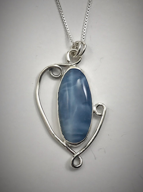 Sterling Owahii Blue Opal Swirl Necklace
