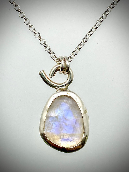 Tiny Faceted Moonstone Necklace