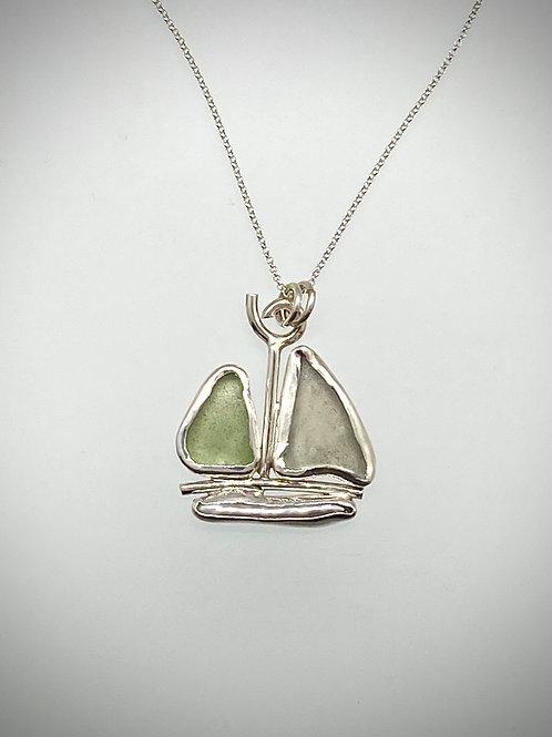 Sterling Aqua Sea Glass sailboat Necklace
