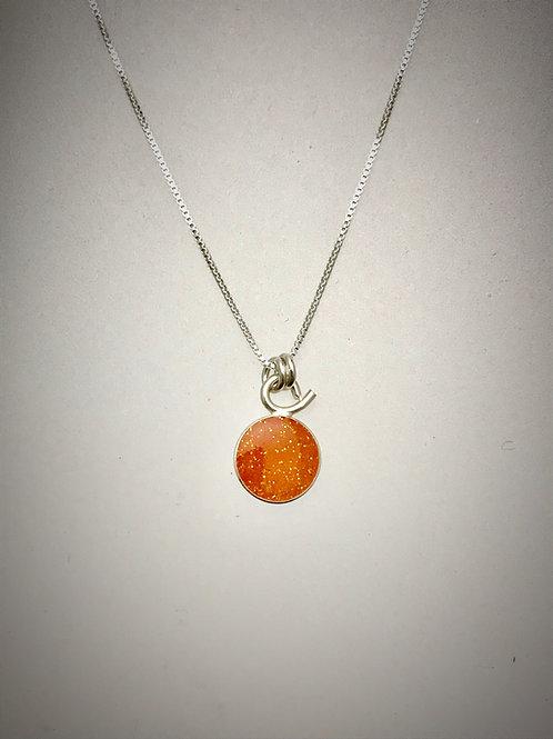 Tiny Orange Sterling Resin Necklace