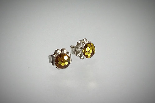 Sterling Small Resin Post Earrings with Large Gold flakes