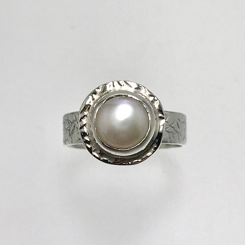 Sterling and Freshwater Pearl  Halo Ring