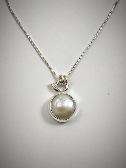 Sterling Freshwater Coin Pearl Necklace