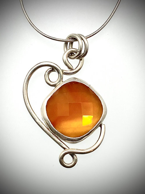 Sterling and Faceted Orange Carnelian Swirl Necklace