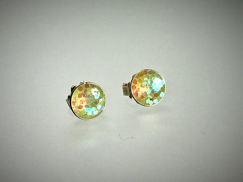 Sterling Large Metal Yellow/Green Flake Resin Earrings