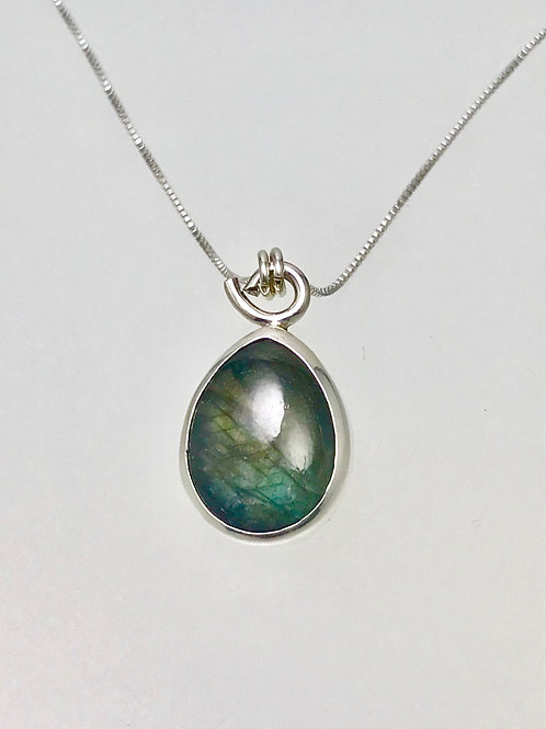 Sterling and labradorite Teardrop Necklace