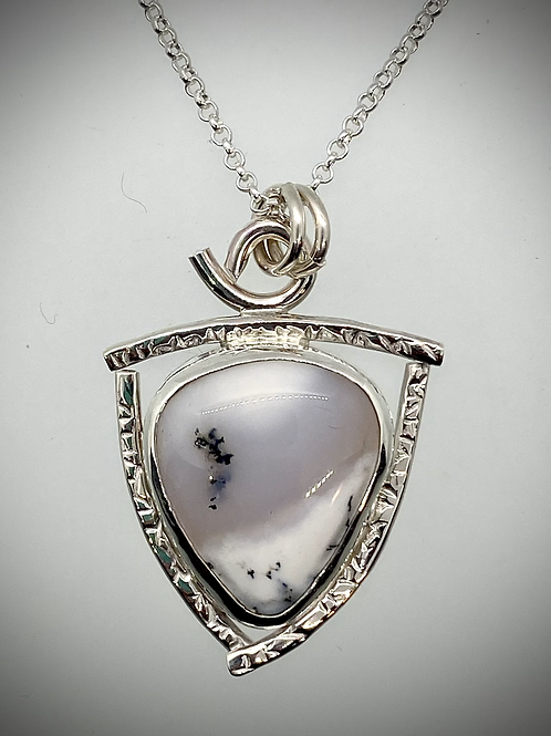 Sterling and Dendritic Opal Frame Necklace