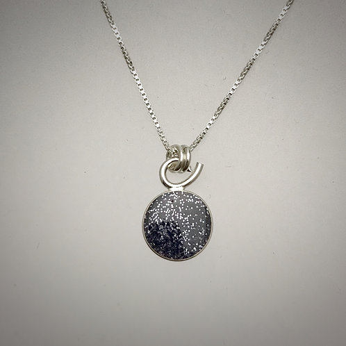 Tiny Sterling Charcoal Resin Necklace