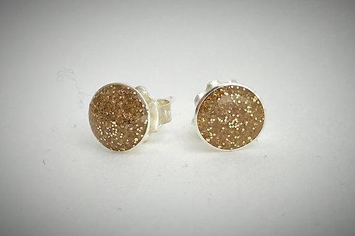 Large Sterling Gold Resin Post Earrings