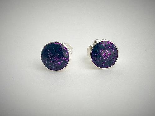 Sterling Large Dark Purple Resin Post Earrings