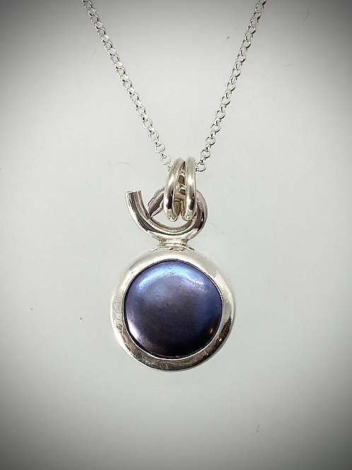 Sterling and Purple Freshwater Pearl Necklace