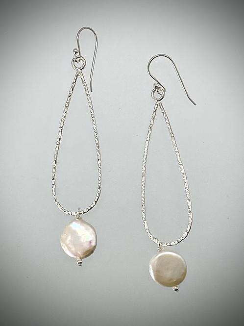 Sterling Large Teardrop Earrings with Freshwater Pearl