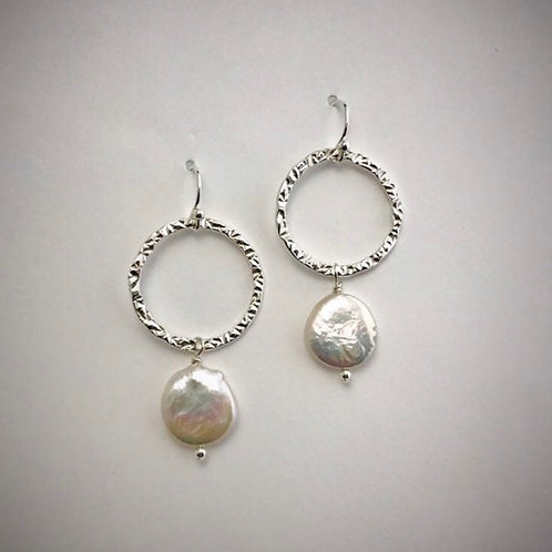 Sterling Large Circle Earrings with Freshwater Coin Pearls