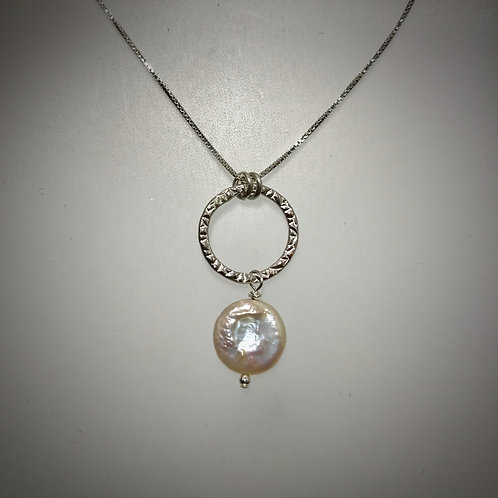 Medium SterlingCircle Necklace with Coin Pearl