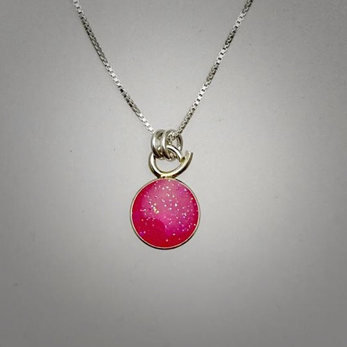 Tiny Sterling Hot Pink Resin Necklace