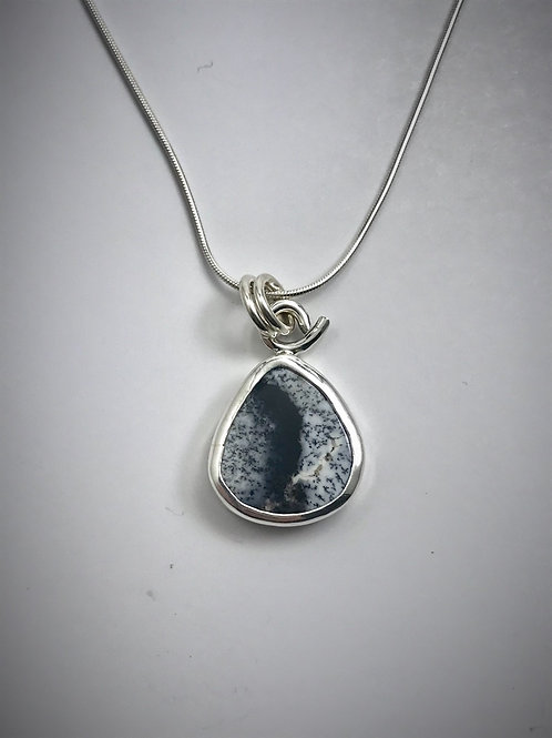 Sterling and Dendritic Agate Teardrop Necklace