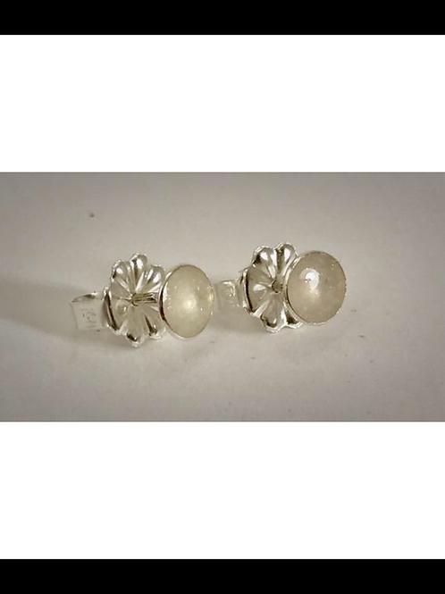 Small Sterling  White Resin Post Earrings