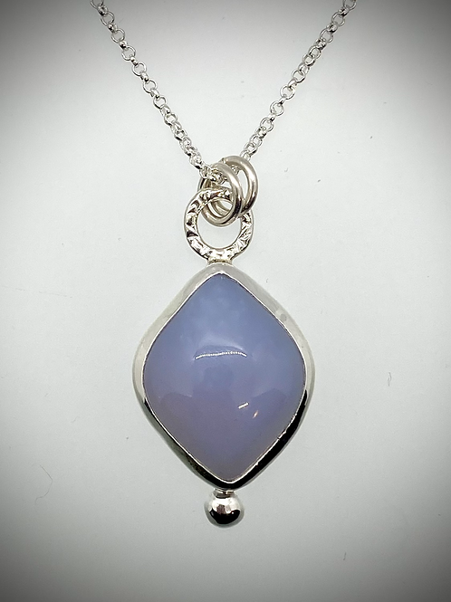 Sterling and Blue Chalcedony Bauble Necklace