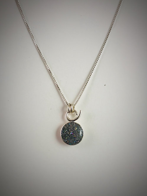 Tiny Sterling Silver Resin Necklace