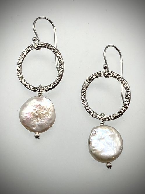 Sterling Medium Circle Earrings with Freshwater Pearl