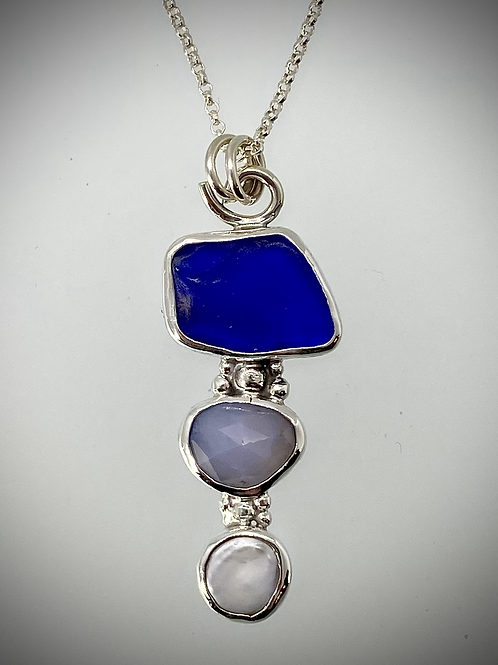 Sterling Piece of Maine Sea Glass, Aquamarine and Pearl Bauble Necklace