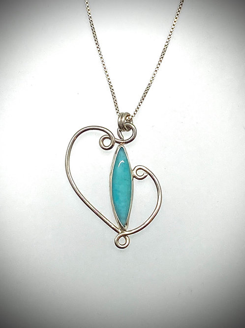 Sterling and Marquis Amazonite Swirl Necklace