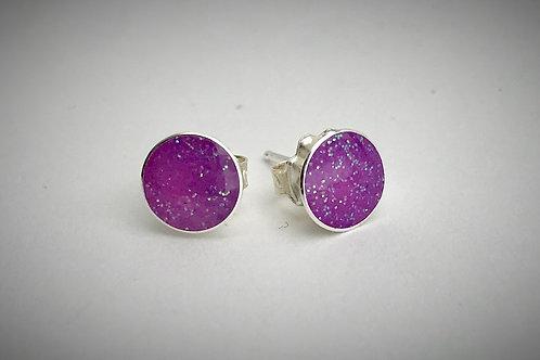 Large Sterling Bright Purple Resin Post Earrings