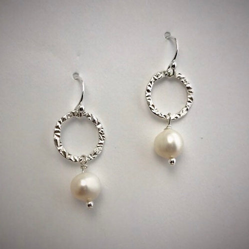 Sterling Small Circle Earrings with Freshwater Pearls