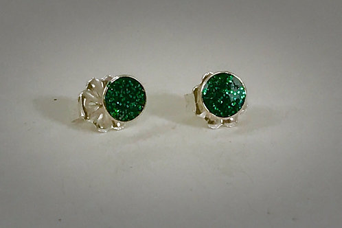 Sterling Small Emerald Green Sparkle post earrings