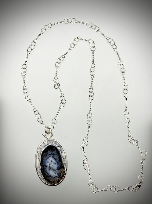 Sterling and Dendritic Opal Necklace