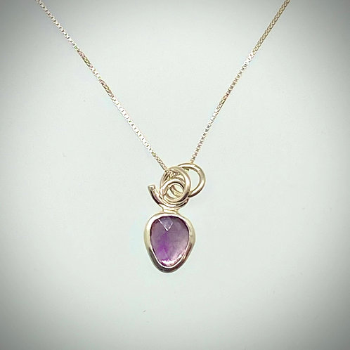 Sterling Faceted Amethyst Necklace