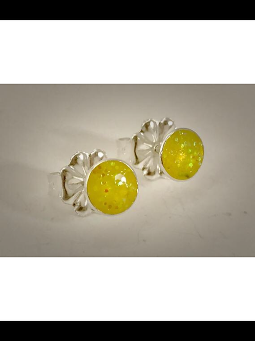 Sterling Small Yellow Resin Post Earrings