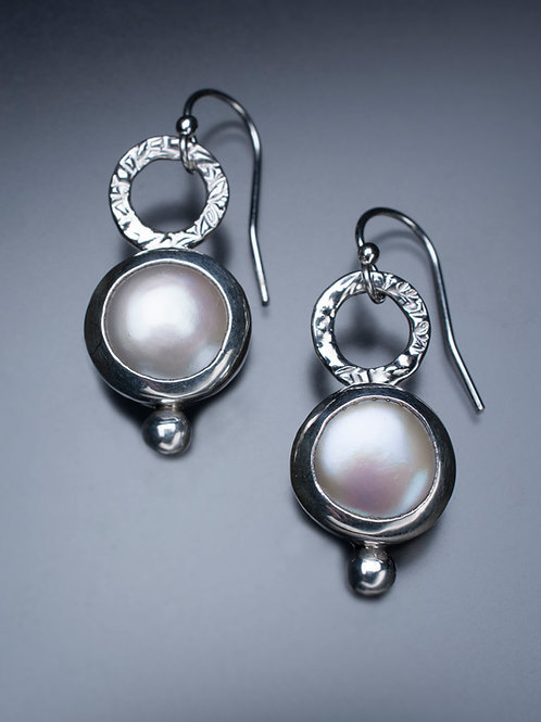 Sterling Hammered Circle Earrings with Freshwater Coin Pearls
