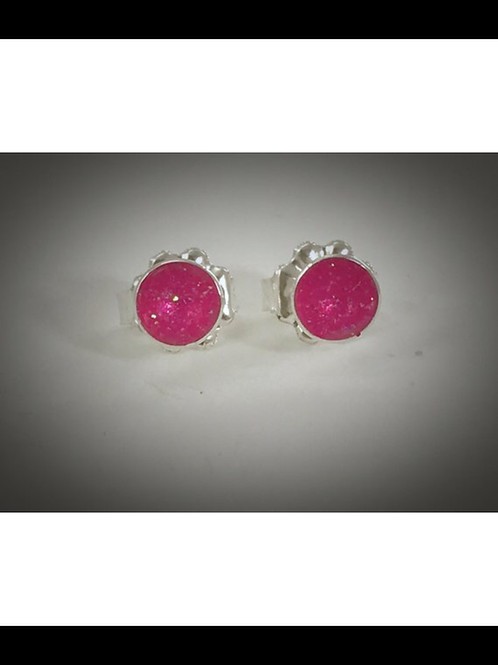 Small Hot Pink Resin Sterling Post Earrings
