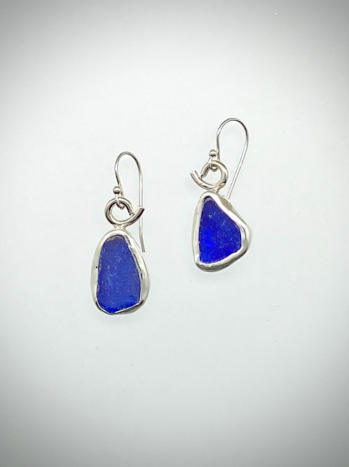 Sterling Piece of Maine Colbalt Sea glass Earrings