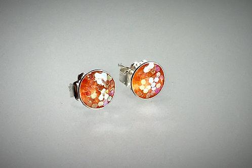 Sterling Large Resin Earrings with Jumbo Orange Flakes