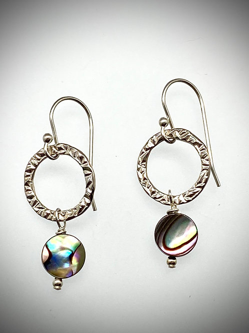 Small Sterling Circle Earrings with Abalone Drops