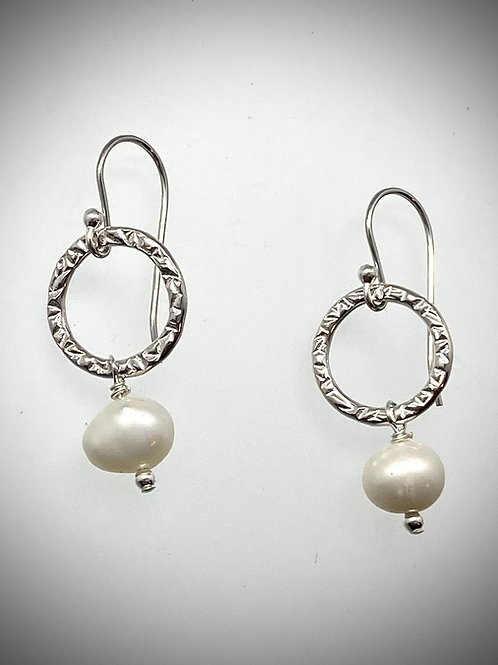 Sterling Small Circle Earrings with Freshwater Pearl