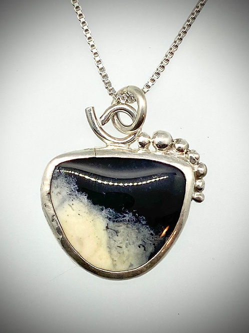 Sterling Dendritic Agate Bauble Necklace