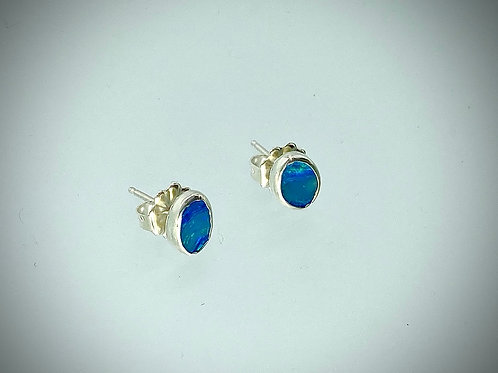 Tiny Sterling Opal Post Earrings
