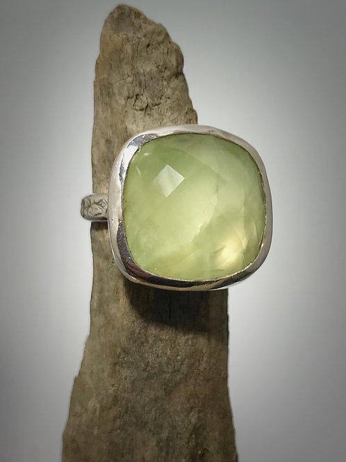 Sterling and Faceted Square  Phrenite Ring