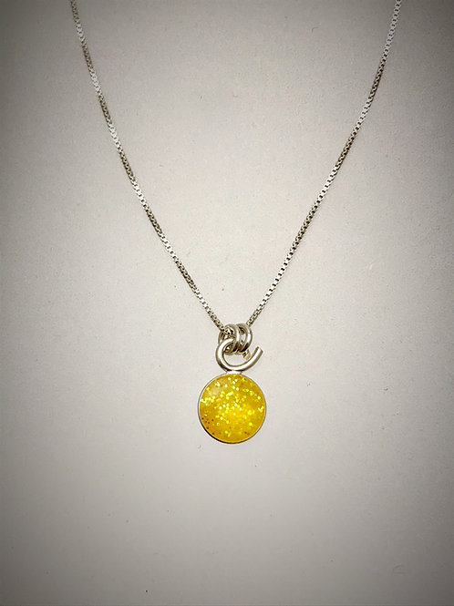 Tiny Sterling Yellow Resin Necklace