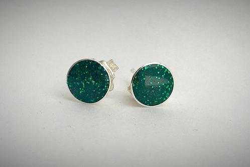 Sterling Large Emerald Green Resin Post Earrings