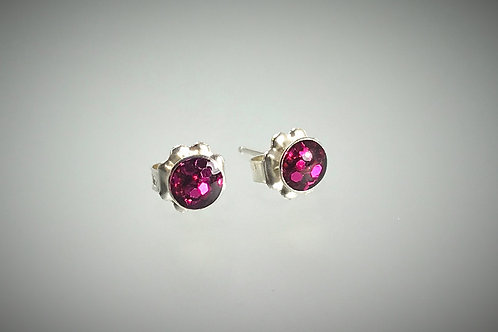 Sterling Small Post Earrings with Large Raspberry Metal Flakes