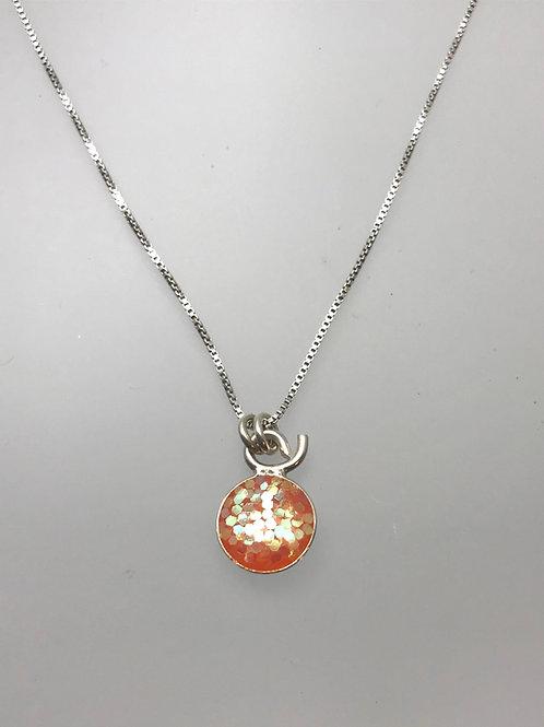 Sterling Large Orange Resin Necklace